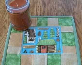 Mug Rug Candle Mat Coaster Quilted Folk Art Lodge Cabin