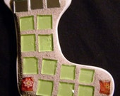 Mosaic Christmas Stocking  Ornament with Green Stained Glass