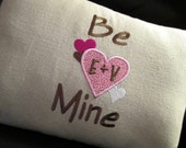 "Be Mine Valentine Pillow Cover 12 x 16"" Custom Embroidered Initials Birthday Wedding Anniversary Valentine's Day Sweetest Day Lumbar  Pillow"