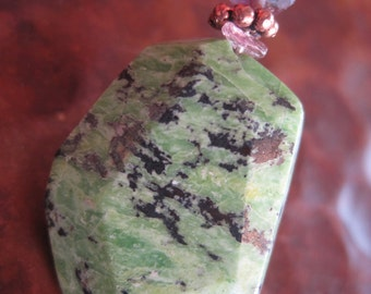 NOW HALF OFF Mint Chrysoprase Tourmaline Pendant Rough Natural Color Green Pink Gem Rocks Artisan Handcrafted Jewelry