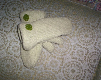 Green Wool Mittens Made From Recycled Sweater