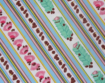 I Love Lucy Fabric,  Chocolate Factory,  Hats, Candy Stripe, Lucy and Ethel, Half Yard