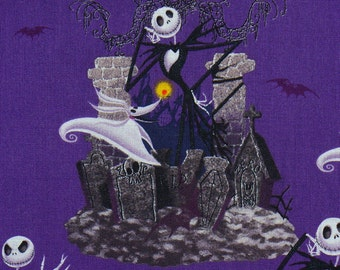 Nightmare Before Christmas, Half Yard,  Halloween Fabric, Jack Skellington, Jack and Sally,  Tim Burton, Jack Sally Zero, Cotton Fabric