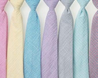 Boys Neckties - Striped Seersucker II - Fuschia, Yellow, Teal, Purple, Gray, Mint/Aqua, Navy/Red