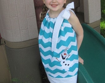 Frozen Olaf Pillowcase Dress, Teal Chevron and White with Silver Sparkles, Snowman, Snow Man, Disney Movie Inspired, Size 6 mos to 14
