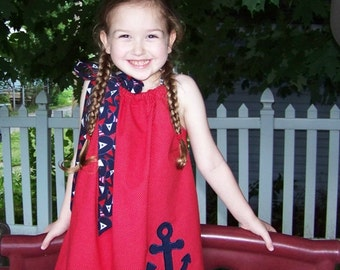 Nautical Pillowcase Dress, Anchor Dress, Sailor Dress, Red, White and Blue, Patriotic, 4th of July, Summer Dress, Size 2T to 14