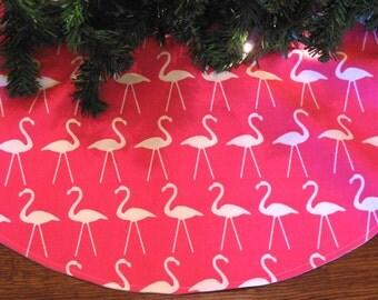 small 24 flamingo christmas tree skirt flamingo decoration white flamingos tropical christmas - Pink Christmas Tree Skirt