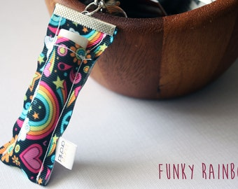 Funky Rainbow Lip Balm Holder Keyring