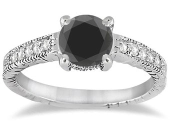 Heirloom Black And White Diamond Engagement Heirloom Ring 1.35CT Heirloom Black & White Diamond Engagement Heirloom Ring 14K White Gold