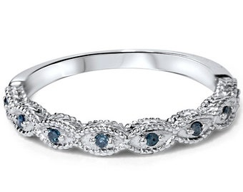 vintage blue diamond ring 110ct wedding ring womens antique style engraved unique ring 14