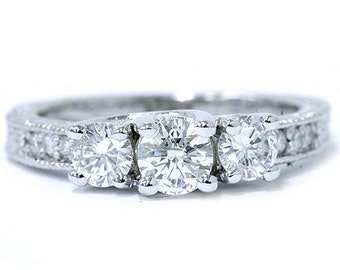 Three Stone Vintage Ring, Diamond Three Stone Engagement Ring, Diamond Three Stone Anniversary Ring, 1.03CT VS Diamond 14K White Gold