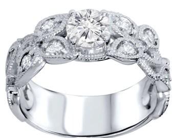Diamond Vintage Antique Engagement Ring 2 Carat Filigree Milgrain Deco Hand Engraved Style 14K White Gold Brilliant Cut Wide Filigree Round
