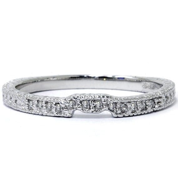 diamond vintage guard ring womens wedding band 14 kt white With womens wedding ring guards