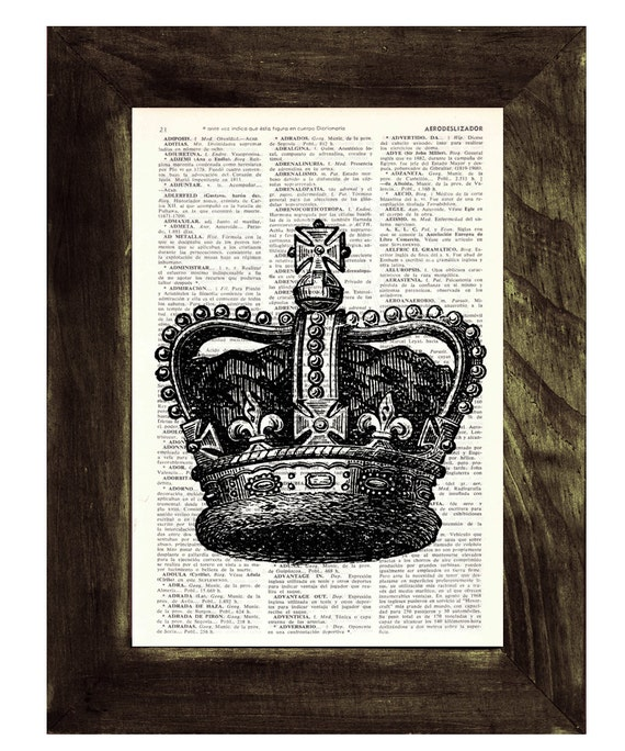 Spring Sale Black King Crown Print -Upcycled Dictionary page print- Unique gift upcycled BPTV064