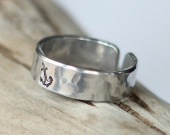 Mens Silver Anchor Ring, Adjustable Silver Anchor Ring, Affordable Silver Anchor Ring, Nautical Rings