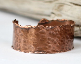 Melted Copper Cuff Hammered Molten Bracelet