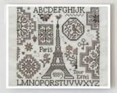 Eiffel Quaker : Jardin Prive French cross stitch patterns February Valentine Spring Eiffel Tower Love Nathalie Cichon wedding travel