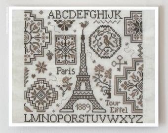 Eiffel Quaker cross stitch patterns by Jardin Privé French Eiffel Tower Love Nathalie Cichon wedding travel