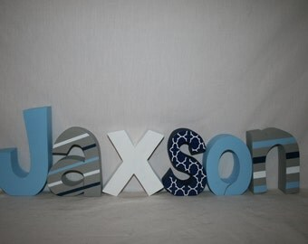 Baby boy nursery letters Name letters Personalized wood letters 12.00 per letter Freestanding wood letters Wood name sign Wall decor