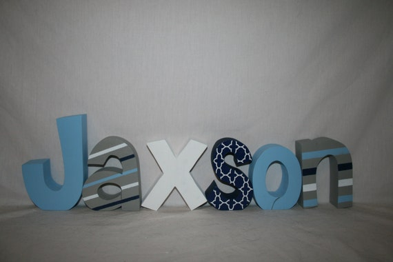 Baby boy nursery letters name letters by woodenwondersshop for Baby room decoration letters