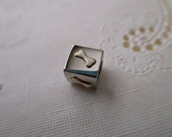 18K and stainless steel bead - cube, silver, bone, pet, dog