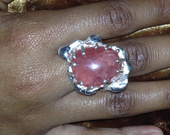 Rhodocroisite and Sterling Silver Ring