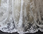 White Bridal Netting Allover Embroidery Lace Fabric outlined with Silver Metallic Thread and  Scalloped Edges - Wedding lace fabric