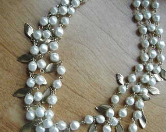 Vintage Pearl  Multi Strand Necklace //Mid Century Jewelry // Golden Leaves