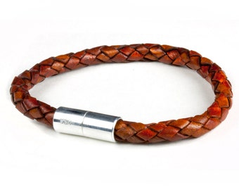 SUKI Braided Medium Brown Leather Bracelet - 6mm with Magnetic Clasp