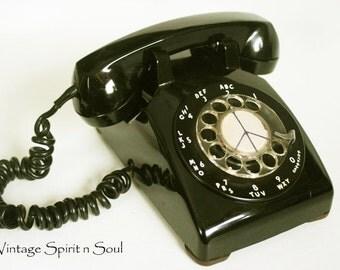 Vintage Retro Black Rotary Desk Phone Telephone