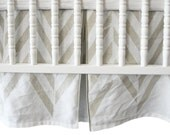 Linen crib skirt by Lovely Home Idea. Zigzag Chevron children bedding collection. Custom color