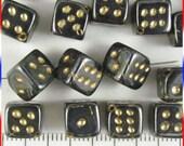 Dice Beads 8mm Czech Glass - Gunmetal / Gold (12)