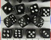 Dice Beads 8mm Czech Glass - Black  / White (12)