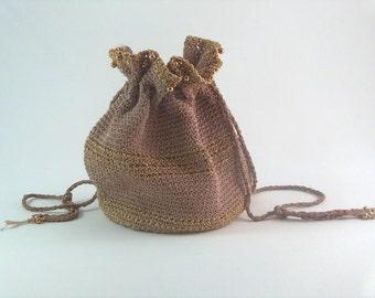 1950s Drawstring Pouch Crochet Beaded Bag Neutral Beige Metallic Gold