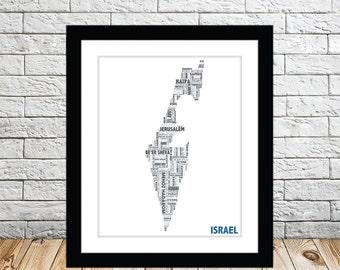 Israel Typography Map 8x10 Print