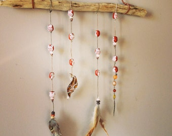 Owl Driftwood Feather Mobile