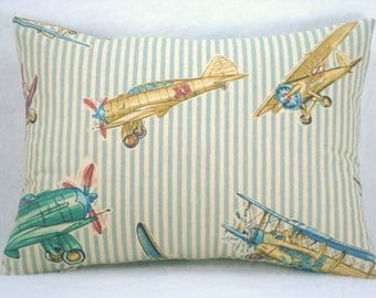 Decorative Accent Lumbar Airplane Pillow Red Baron Stripe Pillow Lumbar Pillow 11x16 Pillow Cover