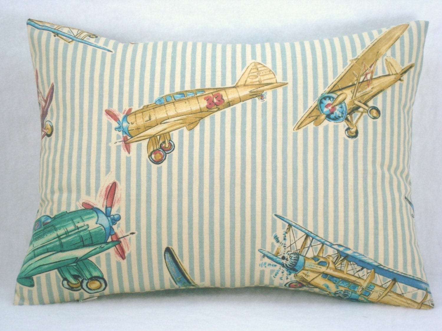 Decorative Airplane Pillow : Decorative Accent Lumbar Airplane Pillow Red Baron Stripe