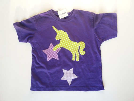 Purple Unicorn T Shirt for Girls with Lime Green Stars