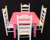 RESERVED. Pink Dottie table 4 chair set for 18 in American Girl doll