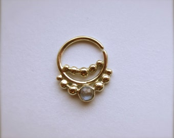 Nexus Gem : Gold Nose Ring .. Septum Jewelry .. Unique Nose Hoop .. 3mm Gemstone .. 14k gold .. Aprilsblissed