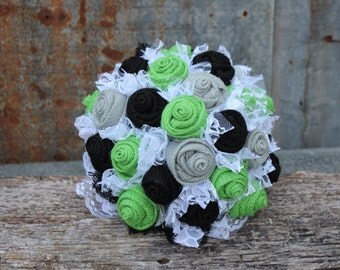 Lime Green, Black, and Gray Burlap and Lace Wedding Bouquets Bridal Bouquet for rustic, prairie style, country wedding