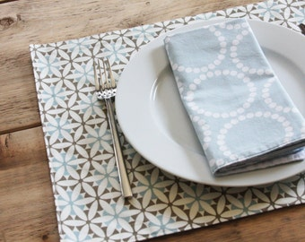 Cloth Placemats - Blue with Greyish Brown Design  - Set of 2