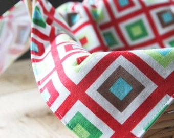 Modern Christmas Napkins - Red and Green Squares - Pair of Napkins