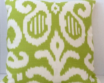 Pillow Cover Throw  Green Ivory Ikat Cotton Slub  Fabric 18 x 18 inch with zipper closure