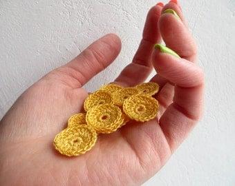 Crochet Circle Appliques, Tiny Small Cute Circles, Decorative, Sunny Yellow, Set of 10