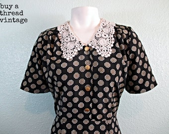 Vintage 40's Style Print Day Dress