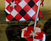 Snowflakes Wedding Guest Book and Pen Set with Swarovski Crystals - Custom Made to Order