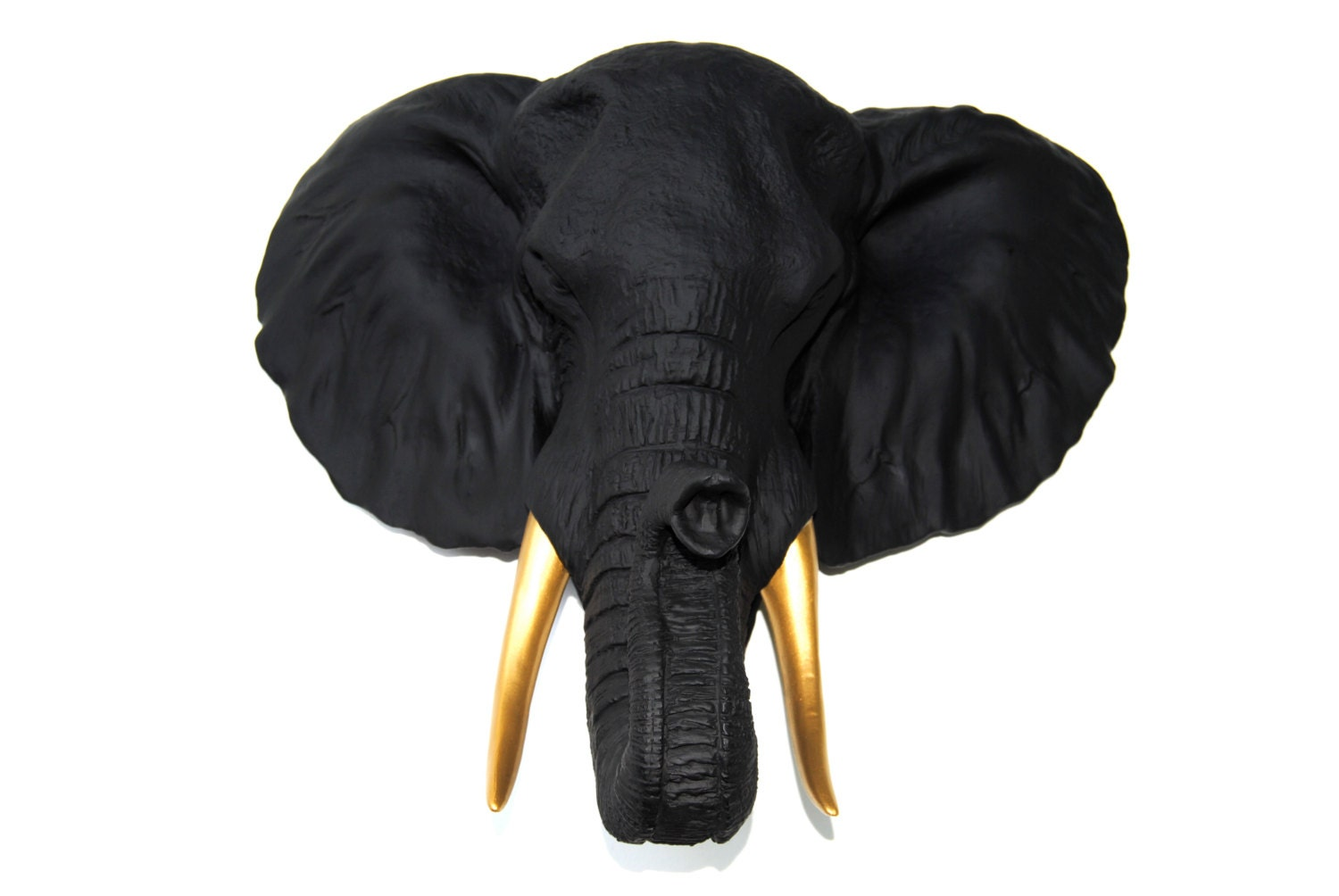 Black Elephant Head Wall Mount With Gold Tusks Wall Mount