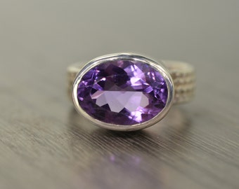 Amethyst Ring, 5ct oval silver chunky wide band ring medium purple February Birthday - Fiona Ring